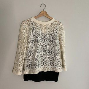 Banana Republic Lace Top with Button-Down Back